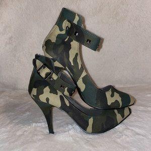 Leaven Alexander camo studded heels